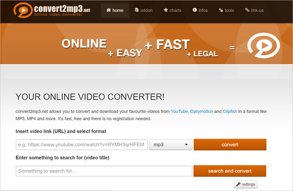Convert2MP3 is one of 2018 Top 6 Best Free Online Video Converter