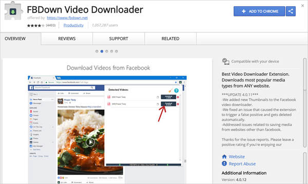Save Facebook videos with Chrome extension.