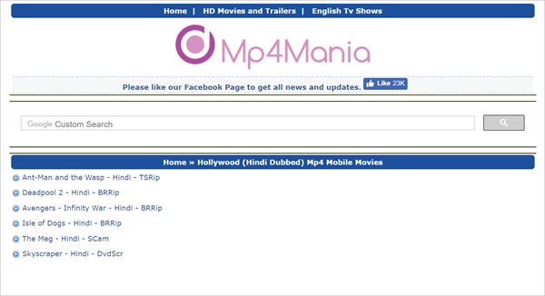 MP4Mania.mobi is one of the Top 10 Websites to Download New Hollywood Movies in Hindi 2019.