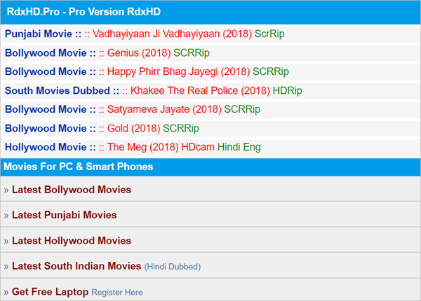 RDX HD is one of the Top 10 Websites to Download New Hollywood Movies in Hindi 2019.