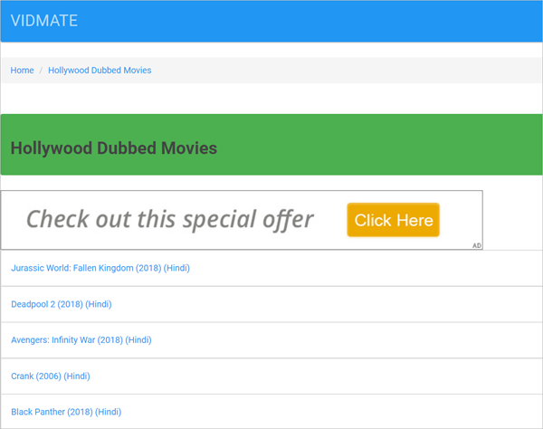 VIDMATE is one of the Top 10 Websites to Download New Hollywood Movies in Hindi 2019.