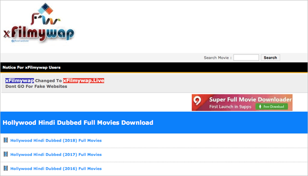 xFilmyWap is one of the Top 10 Websites to Download New Hollywood Movies in Hindi 2019.