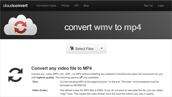 CloudConvert is one of top 5 Best Free Online WMV to MP4 Converter.