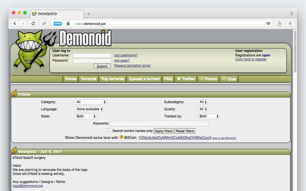 DEMONOID is one of the 10 Best Torrent Sites for Mac to Download Torrents.