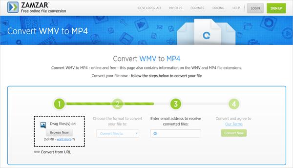 Zamzar is one of top 5 Best Free Online WMV to MP4 Converter.