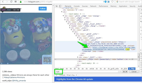 Download Instagram Videos from Source Code