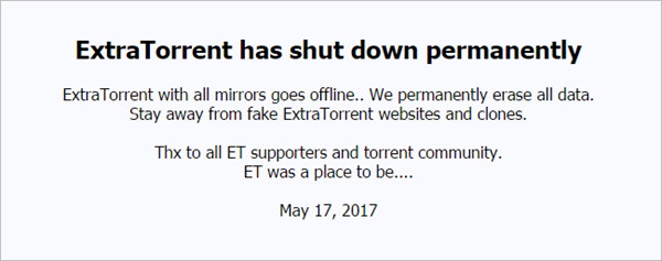ExtraTorrent Shut Down Permanently