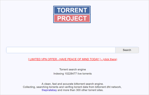 Torrent Project is actually an alternative to Torrentz keeping all the projects and ethics from its parent site.